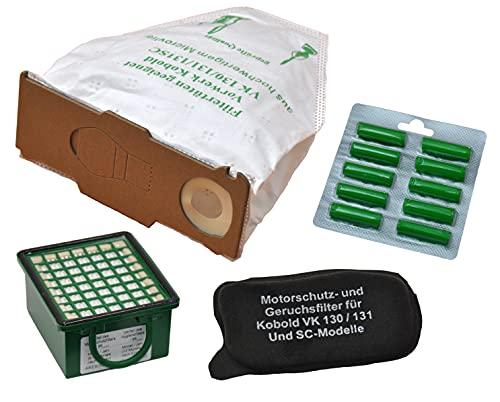 Spar-Set, 6 Microvliesbeutel, 1 Hygienefeinfilter, 1 Geruchsfilter und 10 Duftpatronen geeignet für Ihren Vorwerk Kobold 130/131