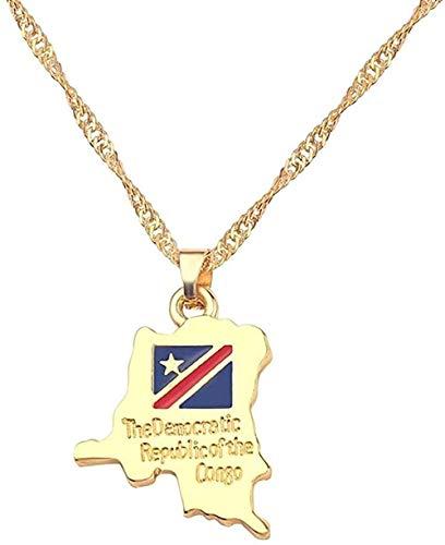 DUEJJH Co.,ltd Necklace National Flag Pendant Necklace Women Jamaica Nigeria Ghana Jamaica Guyana Maps Necklaces County Jewelry
