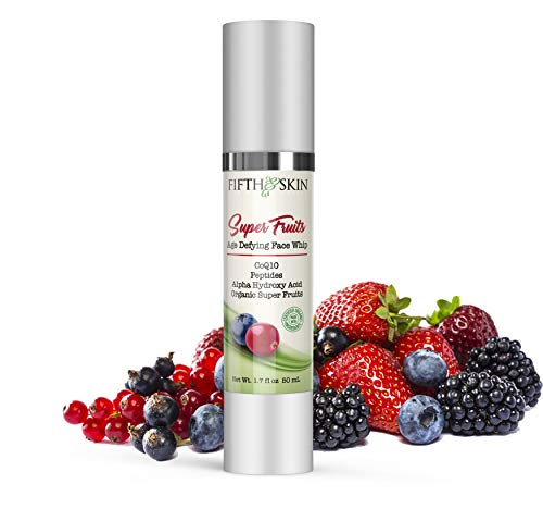 Fifth & Skin Super Fruits Age Defying FACE CREAM - Face Whip (2 oz.) Natural, Organic, Moisturizer for Oily Skin, Dry Skin, Sensitive Skin – Vitamin C & Peptides, Fine Lines, Firming, Helps Fade Age Spots for Younger Looking Skin!