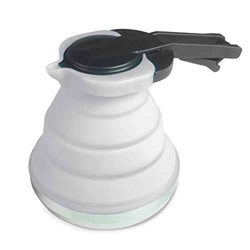 Siehe Beschreibung Leichte, Faltbare Kanne aus Silikon in grau 1,2 Liter mit Deckel und Griff • Kaffeekanne Teekanne Kännchen faltbar Camping Geschirr Zelt Küche