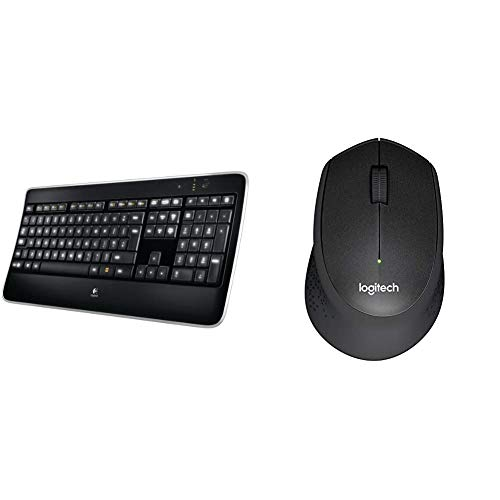 Logitech K800 Illuminated Wireless Keyboard, Black & M330 Silent Plus Wireless Mouse, 2.4 GHz with USB Nano Receiver, 1000 DPI Optical Tracking, 3 Buttons - Black