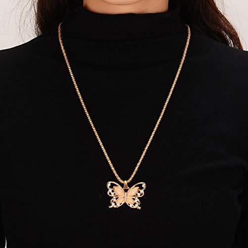 Yienate Boho-Halskette, modisch, einfach, exquisit, Opal, hohl, Schmetterling-Anhänger, Goldkette, Boho-Schmuck für Damen und Mädchen