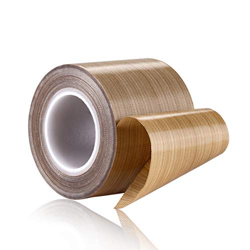 100% Quality Assurance; PTFE Coated Fiberglass Teflon Tape,high Temperature Tape;Drying Conveyor Belt; Welding Sealing Tape; -196℃ - +300℃ (48mm x 12yards x 0.18mm, Brown 2)