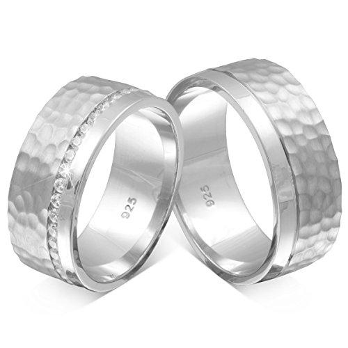 Adomio -Trauringe Partnerringe mit Hammerschlag-Technik Handarbeit - Ringe im Set aus massivem 925 Sterling Silber rundum mit Steinen besetzt Zirkonia & gratis Gravur