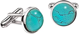 Blue Turquoise Silver Cufflinks Gift Set with Tie Clip 65mm