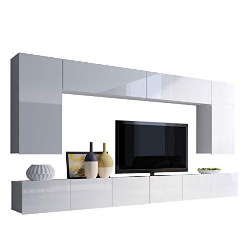 Mirjan24 Moderne Wohnwand Calabrini XIII - Anbauwand, Mediawand, Hängeschrank, TV Lowboard, Wandregal, Fernsehschrank, Laminatplatte, Weiß Hochglanz, 157 x 6.5 x 43 cm