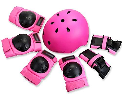 LIMX 7PCS Bambini Set di Casco, Ginocchiere, Gomitiere e Protezione Polso Set di Attrezzi protettivi Sportivi per Hoverboard, Scooter, BMX e Bicicletta,Rosa,XL