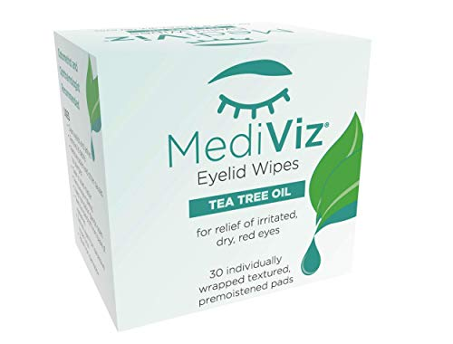 Mediviz Tea Tree Eyelid Wipes - Exfoliating, Hypoallergenic Eyelid Scrubs to Help With Crusty Eyelashes, Eyelid Bumps, Allergies, Demodex Mites, Clogged Meibomian Glands, Eyelid Irritation (30-Pack)