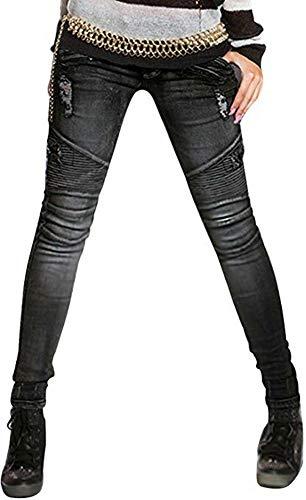 AUSZOSLT Women's Biker Style Ripped Zip Rider Pants Jeans Joggers Black 3XL