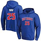 MAOMAOQUEENss Sudaderas con Capucha de Derrick Rose #25,#Detroit # Pistons Pullover Uniforme de Baloncesto Fans Camisetas de Entrenamiento, para Hombre y Mujer,Moda Casual, sin Deformación,Blue-XL