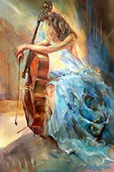 DIY 5D Diamond Painting Kit Diamond Sticker Stitch Painting Sets Full Drill Diamond Painting,Diamond Painting for Adult or Kid  Abstract Beauty Cello
