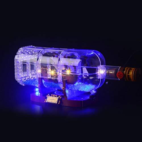 WFTD Bloques De Construcción De Iluminación De Bricolaje para (Barco En Una Botella) Modelo De Bloque, Kit De Luz LED Compatible con Lego 21313 (No Incluye El Conjunto Lego)