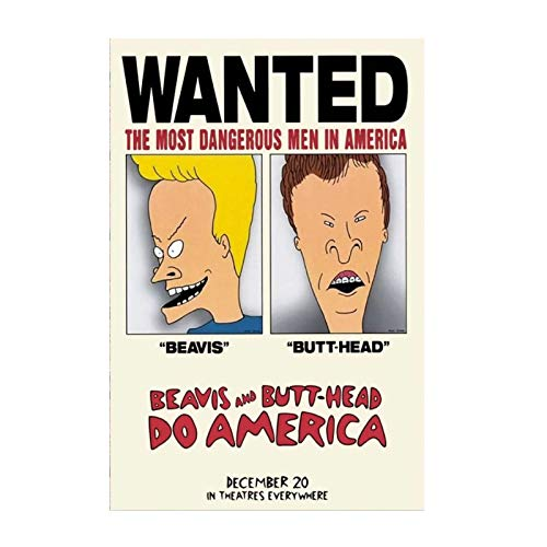 WTHKL Poster e Stampe Beavis e Butthead Do America Movie Art Poster Canvas Painting Home Decor Gift -50x70 Cm No Frame 1 PCS