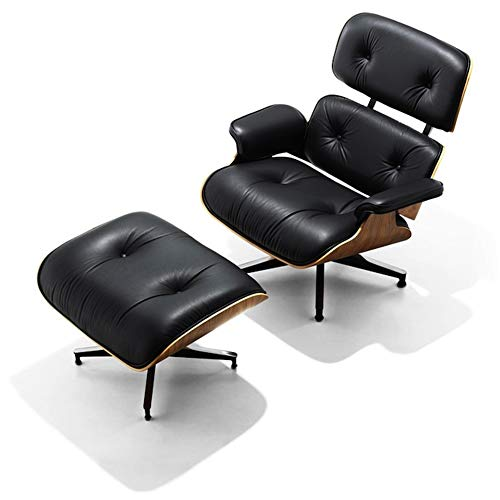 Mid Century Lounge Chair and Ottoman, Widened Version Classic Lounge Chair, Top Grain Leather Solid Wood Modern Chair (Upgraded 2 - Black Palisander)