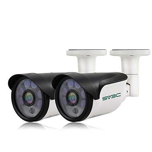 POE Camera, SV3C (Pack of 2) 3MP POE IP Security Surveillance Camera Outdoor, IR Night Vision 65-100ft, H.265 Video Compression, IP66 Waterproof, Smart Motion Detection, Onvif Compatible