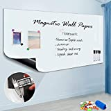 Large Magnetic Whiteboard Sticker for Wall, Self-Adhesive Back with Dry Erase Board Surface, Includes 4 Markers 4 Magnets, 72 x 48 Inches