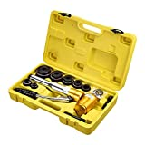 YeStarry 6 Ton Hydraulic Punch Driver Kit 6 Dies Hole Punch Knockout Set 11-gauge Conduit Sized Punches with Swivel Head