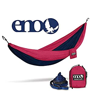 ENO - Eagles Nest Outfitters DoubleNest Hammock & 9 ft Atlas Chroma Suspension Straps Bundle, Navy/Maroon