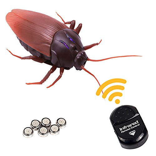 Vidillo RC Infrared Cockroach/Ant/Spider, Novelty Fake Plastic Roaches Look Real Prank Toys Insects Joke Scary Trick Bugs Party Halloween Xmas Gift for Kids/Friends Cat Toy (Cockroach)