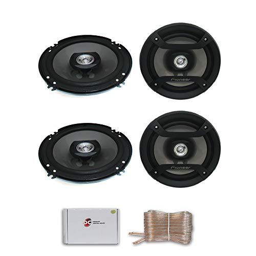 """4 x Pioneer TS-F1634R 6.5"""" 2-Way car Audio coaxial Speakers 200 watts Max DiscountCentralOnline 25ft Speakers Wire"""
