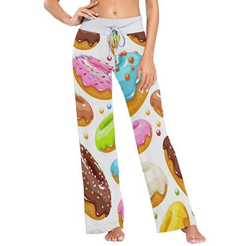 Pantalones de Pijama para Mujer Pantalones de Dormir Pantalones Largos atléticos de Pierna Ancha Donuts