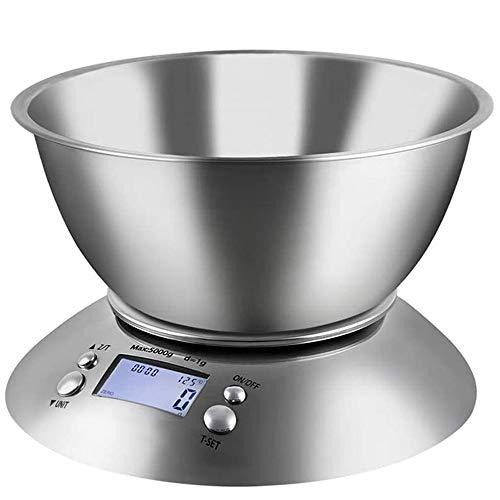 GuoYq Digitale Küchenwaage, Elektronische Küchenwaage Mit Abnehmbarer Schüssel Schüssel Und Wiegefläche Aus Edelstahl, Tara-Funktion, Multifunktions-LCD-Display