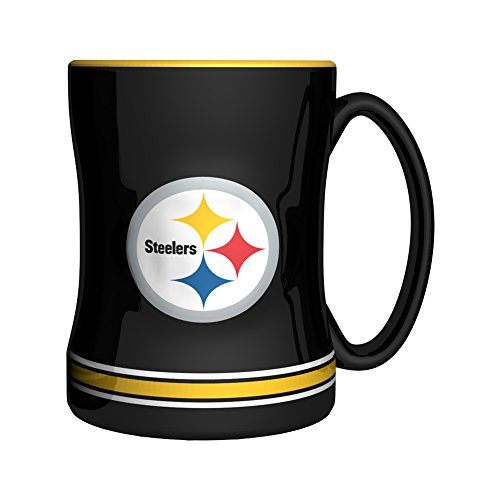 NFL Pittsburgh Steelers Sculpted Relief Mug, 14-ounce, Black