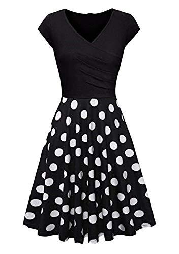 EFOFEI Vestido Estampado de Lunares para Mujer Vestido de Manga Corta con Cuello en V Negro Dot XS