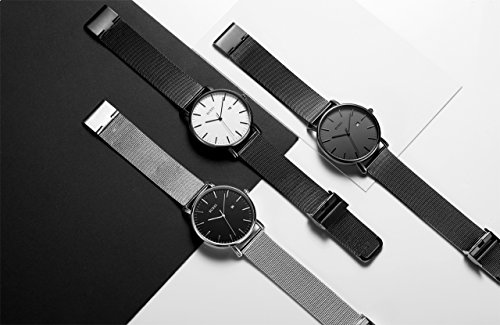 BUREI Men's Fashion Minimalist Wrist Watch Analog Deep Gray Date with Black Mesh Band