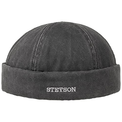 STETSON Bonnet Docker Old Cotton Winter Homme - pour l'hiver avec Revers, Bonnets Docker, Doublure, fermé à l'arrière, Doublure Automne-Hiver - L (58-59 cm) Noir