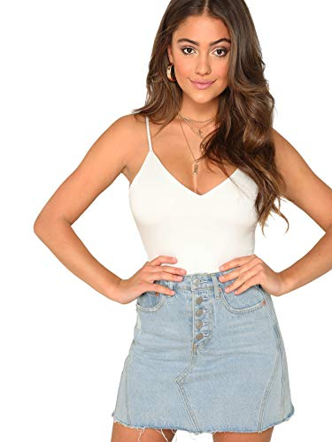 SheIn Women's Casual V Neck Stretchy Regular Length Two Layer Cami Tank Top White