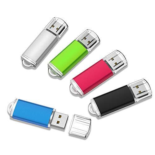 RAOYI USBメモリ 32GB USB2.0 5個セット フラッシュドライブ キャップ式 コンパクト 5色(黒、赤、青、緑、銀) 2年保証
