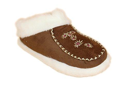buyAzzo Damen Plüsch Hausschuhe | Warmfutter Pantoffel | Komfort Hausbooty Schuhe Norweger Winter Hüttenhausschuhe BA0064 (38, Dunkelbraun)
