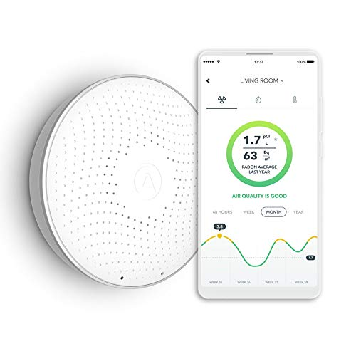 Airthings Wave 1st Generation - Smart Radon Detector with free app – Easy-to-Use – Temp and Humidity – Accurate – No Lab Fees – Battery Operated