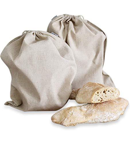 EliXito Lot de 2 sacs à pain 100 % lin - Rangement 30 x 40 cm - Conservation alimentaire durable - Sacs à fruits et légumes - Sacs à pain réutilisables - Sacs à provisions écologiques