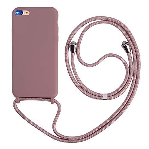 2ndSpring Funda con Cuerda Compatible con iPhone 7 Plus/iPhone 8 Plus,Colgante Collar Correa de Cuello Cadena Cordón,Silicona Suave Rose Gold