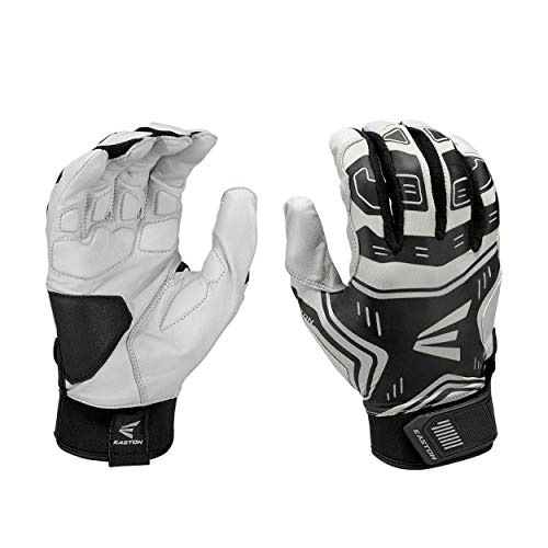 EASTON VRS POWER BOOST Batting Glove | Pair | Baseball Softball | Adult | Large | Black / Grey | 2020 | VRS Pad Reduces Vibration & Blisters | Tacky Palm | Flexible Lycra | Comfort Neoprene Strap
