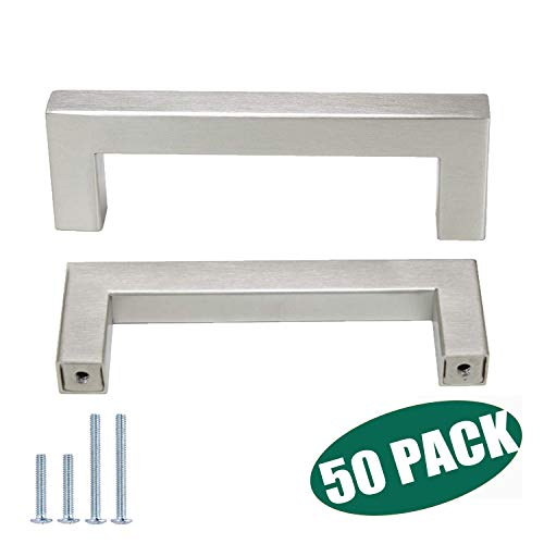"Probrico 50 Pack|Square Kitchen Cabinet Pulls3-3/4"" Hole Centers Brushed Nickel Contempory Drawer Pulls Modern Stainless Steel Kitchen Bathroom Hardware"