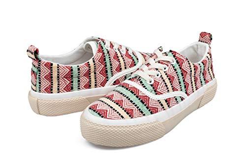 Hotroad Damen Fashion Canvas Sneaker Low Top Frauen Sommer Walking Stoff Outdoor Schnürschuhe Segeltuchschuhe Tennisschuhe Tennis Schuhe Sneakers Klassisch Turnschuhe Schnürsenkel, Rot / 37 EU Women
