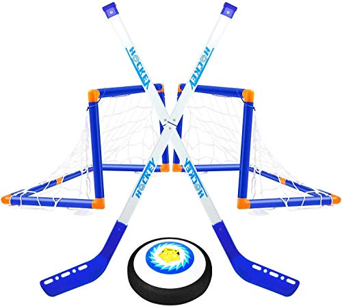 TwobeFit Hover Set da Hockey, 2 Goal Giocattoli per Bambini - Pallone da Allenamento per...