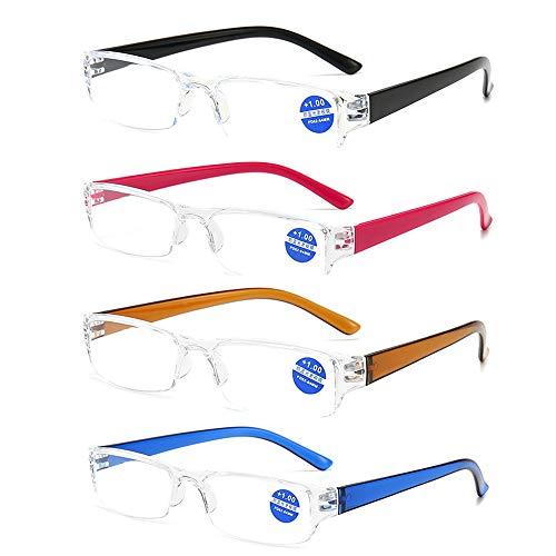 4 stuck Halbbild ultraleichte Lesebrille Sehhilfen mit Blaulichtfilter Anti-Blau-Lesehilfe für Damen und Herren +3.0