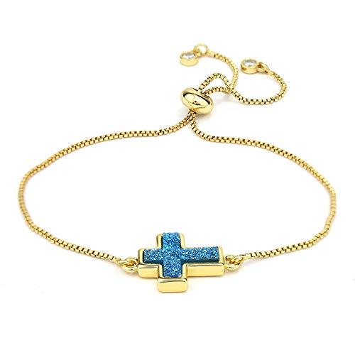 POMINA Druzy Stone Slide Adjustable Gold Bracelet for Women Girls Teens (Cross Aqua)