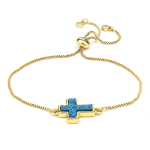 Pomina Dainty Gold Chain Bolo Bracelet Colorful Druzy Stone Charm Slide Adjustable...