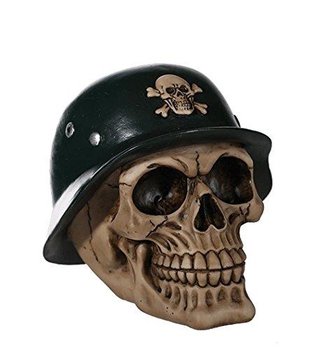 DONREGALOWEB Hucha - Figura con Forma de Calavera con Casco Militar