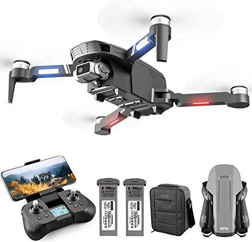 4DRC F4 Drone con cámara 4K HD GPS plegable para adultos 60 minutos de vuelo 1000 metros de pPrtata FPV Control Gestual 5G GHz WiFi FPV Brushless Motor GPS Follow Me (dos baterías y bolsa)