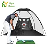 S.Y. Golf Net Golf Practice Net with Target Chipping Holes Hitting Golf Nets for Backyard Driving 6PCS Golf Balls Golf Mat Swing Training Indoor or Outdoor Adult Black