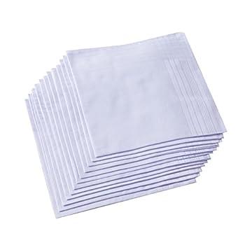 Men s Pure White 100% Cotton Handkerchief
