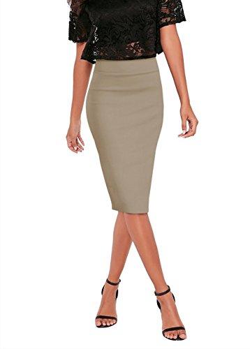 Womens Pencil Skirt for Office Wear KSK43584 10531 TAUPE Medium