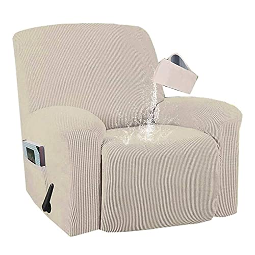 Zoeay Jacquard Fabric Stretch Recliner Cover, Waterproof 4 Pieces Recliner Chair Cover Thick Recliner SlipCovers with Elastic Bottom Non-Slip Furniture Cover with Side Pocket-Natural_Color