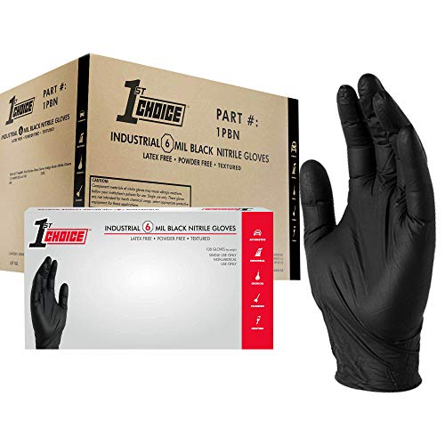 1st Choice Black Nitrile Industrial Disposable Gloves, 6 Mil, Latex & Powder-Free, Food-Safe, Textured, Large, Case of 1000